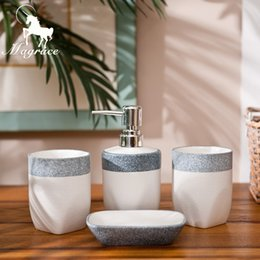 Wholesale Round Soap - Magrace Ceramic Bath Series Bathroom Set Accessory Eco -Friendly Wash Kit Square And Round Baby Blue Soap Dish Cups Lotion Bottle