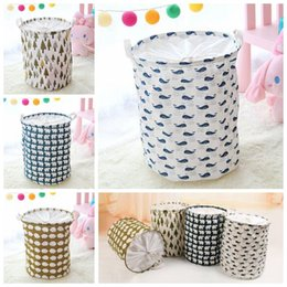 Wholesale Cotton Storage Basket - 4 Styles INS Waterproof Folding Canvas Beam Laundry Basket Tree Bear Hedgehog Pattern Cotton Linen Clothes Storage Basket CCA7095 10pcs
