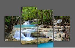 Wholesale Large Framed Oil Painting Canvas - 4 Pieces Wall Art Waterfall Green Lake Large HD Top-rated Canvas Print Painting Oil Paintings Home Decoration Room Framed