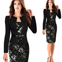 Wholesale Womens Clubwear Dresses - Womens Bodycon Elegant Fashion Long Sleeve Casual Dress Clubwear Club Wear To Work Dress With Belt S-4XL