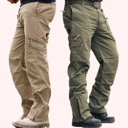 Wholesale Military Army Cargo - Baggy men's Camo fashion Black green outdoor Military style Army fatigue Camouflage trouser Cargo Pant Tactical KHAKI FOR Men 28-38