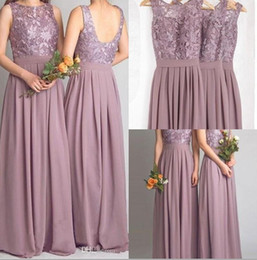 Wholesale Mauve Chiffon Dress - Dusty Mauve Bridesmaid Dresses For Weddings Real Photos Chiffon Jewel Open Backless Prom Gowns Pleat With Lace 2016 Formal Maid of Honor