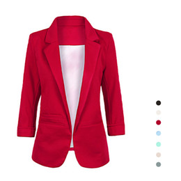 Wholesale Slim Suit Small - S5Q Women Stylish Candy Colors Suit Jacket Commuter Slim Suit Collar Small Suits AAAGCL