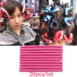 Wholesale Curling Rods Rollers - 20pieces lot Magic Air Hair Roller Curler Bendy Hair Sticks Hair Curling rollers 1.5cm width Flexi rods pink colors