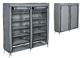 Wholesale Shoes Rack Shelf Organizers - Grey Shoe Rack Shelf Storage Closet Organizer Cabinet Portable 6 Layer w   Cover