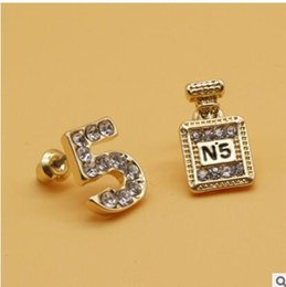 Wholesale Fine Jewelry Brands - Chic 5 Crystal Brand Design High Quality CC Stud Earrings Women Gold Wedding Charms Pearl Jewelry Channel Earrings Fine Jewelry