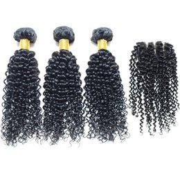Wholesale Tangle Free Weave Cheap - Malaysian Curly Hair With Closure 8A Kinky Curly With Closure No Shed No Tangle Cheap 3 Bundles Curly Weave Human Hair With Closure