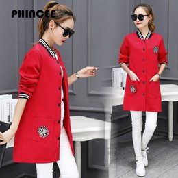 Wholesale Women S Trench Coat Pattern - Wholesale- Medium Long Trench Coat Women 2017 Spring Autumn Fashion Long Sleeve Outwear Female O-Neck Pockets Zippers Embroidery Overcoat