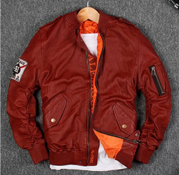 Wholesale Air Force Leather Bomber Jacket - 3 colours stand collar air force basbell jackets G1 Flocking sheepskin leather jackets flight bomber jacket