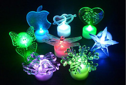 Wholesale Led Butterfly Tree - Acrylic butterfly electronic candle light apple deer bell snow star Santa Claus Christmas tree night light