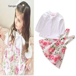 Wholesale Children S Tee Shirts - New Fashion Baby Girls Sets White Tee Tops Shirts + Flower Suspender Skirts 2pcs Set Children Outfits Sets Princess ClothingSet A7735