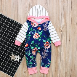 Wholesale Christmas Rompers For Babies - baby girls long sleeved rompers spring autumn rose kids clothing striped hooded jumpsuit for girl rompers