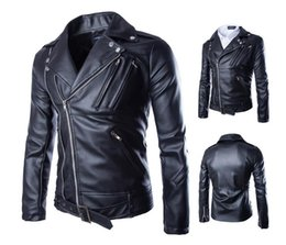 Wholesale Men S Leather Wear - Fall-2016 New fashion men's motorcycle leather jacket male matte black PU leather coat many zipper hip hop outer wear