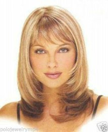 Wholesale Synthetic Wigs Medium Length - 100% Hot Sell Brazil dark-haired woman wig cosplay Heat Resistant synthetic??New Blonde & Brown Mix Heat Resistant Medium Women Wig