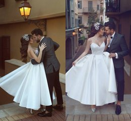 Wholesale vintage dresses cheap online - Cheap White A Line Wedding Dresses Short With Lace Strapless Satin Tea-Length Wedding Gowns Spaghetti strap Sleeveless Bridal Dress Online