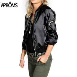 Wholesale Parka Jacket Girls - Wholesale- 2017 Fall Winter Ladies Black Basic Zipper Jackets Coat Women Pilot Bomber Jacket Casual Girls Outerwear Parka chaquetas mujer