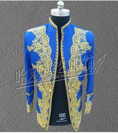 Wholesale Chinese Tunics Costume - Male nightclub singer costumes national palace with embroidered Chinese tunic suit the groom's best man clothing S - 5 xl