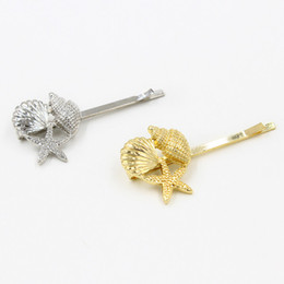 Wholesale Starfish Clips - New Starfish & Shell hairgrips for women gold plated & silver plated hair clips Metal Ladies & girls Fashion design Hairpins hair Jewelry