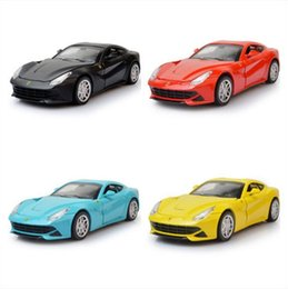 Wholesale Classic Miniature Toys - 1:32 F12 Scale Metal Diecast Figure Model Car Toys Alloy Pull Back Drift Rally Classic Car Miniatures Christmas Gift