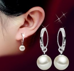 Wholesale Round Silver Ball Earring - 925 Sterling Silver Drop Earrings Shambala Ball Stud Earrings Platinum Plated Round Pearl Dangle Charm Jewelry Elegant Female Wedding Party