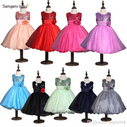 Wholesale Sparkle Baby Dress - New 16 designs 2016 New baby girl sequin dress frozen Sequined flower dresses sparkle party ball gown princess chiffon tulle dresses E389