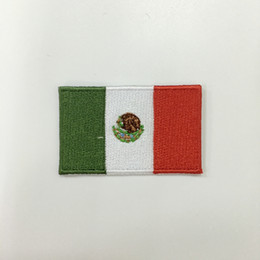 """Wholesale Wholesale Ship Mexico - Professional computer embroidery patch Mexico national flag 2.5""""W*1.5""""H hot cut Iron on 100%emb free shipping can be customized"""