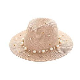 Wholesale Pearl Shade - Wholesale- 2017 Sun-shading Brim Straw Hat Beading Pearl Women Beach Sun Hat Cap