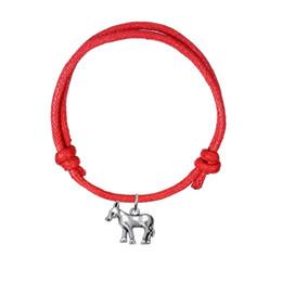 Wholesale Doe Animal - Handmade Adjustable Charm Bracelet Antique Silver Plated Deer Doe Pattern Charm Wax Cord Bracelet Fashion Animal Jewelry