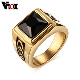 Wholesale ring stone for male - Wholesale- Vnox Black Stone Wedding Rings for Engagement Party Jewelry Stainless Steel Punk Rings for Men Male