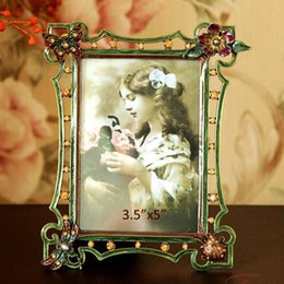 Wholesale Photo Epoxy - Elegant Rectangle Shaped Bronze Green Epoxy and Gold Rhinestones Jeweled Alloy Photo Frame 3.5x5 inch with Four Corner Ornaments