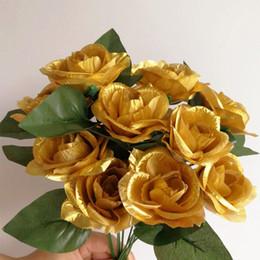Wholesale golden roses flowers - 80p Burgundy Rose Golden Color Flower 30cm Roses for Event Party Wedding Centerpieces Bride Bouquet Artificial Decorative Flower