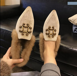Wholesale Korean Winter Wear Women - 2017 new autumn and winter fashion wear Korean pointed shoes with pure cashmere suede with coarse all-match with winter shoes