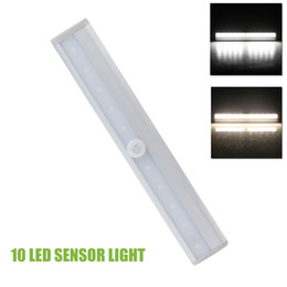 Wholesale Pir Light Battery - 10 LED Wireless PIR Auto Motion Sensor Light Intelligent Portable infrared Induction Lamp Night Lights for Cabinet Hotel Closet