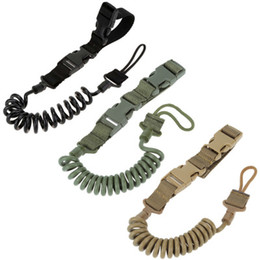 Wholesale Tactical Lanyards - Anti Lost Fans Wear Elastic Spring Outdoor Keychain Lanyard Lanyard Tactical Tactical Multi-function Safety Rope Adjustable Bungee Tactical