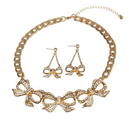 Wholesale Chunky Bow Necklaces - Wholesale Free Shipping Hot Sale Rhinestone Wedding Bow Pendant Chunky Chain Necklace and Drop Earrings Jewelry Set
