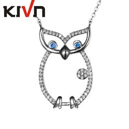 Wholesale Cat Owl Jewelry - KIVN Fashion Jewelry CZ Cubic Zirconia Cute Animal Cat Pendant Necklaces Night Owl Necklaces for Women Birthday Girls Mothers Day Gifts