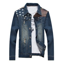 Wholesale Big Tall Men - Fall-2016 Fashion Mens Denim Jackets And Coats Ripped Patch Jeans Jacket Men jean jacket Big Guy Store Tall 3XL 4XL 5XL