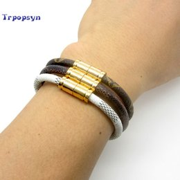 Wholesale Bangle Bracelets For Sale - 2017 Hot Sale New Fashion Luxury Brand Jewelry 316l Stainless Steel Bracelets Bangles Pulseiras Leather Bracelets For Women  Men