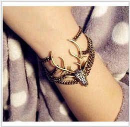 Wholesale Deer Bracelet Retro - Multilayer Retro Moosehead Link Chain Rhinestone Vintage Deer Head Layers Charms Bracelets European and American Fashion