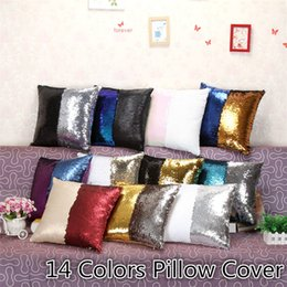 Wholesale slip cover car - Fashion Sequins Cushion Cover Pillow slip Mermaid Pillow case Cover Home Sofa Car Décor Magic Pillow Cover 14 colors 40*40cm B0862