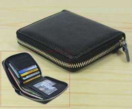 Wholesale Zip Clip Wallet - Wholesale- Fashion Men's Genuine Leather Wallet zip around Short money clip Leather Clutch wallet Coin Bag Purse Black Free ship WL007