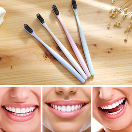 Wholesale Make Bamboo Charcoal - The Portable Travel Toothbrush Wheat Soft Bamboo Charcoal Toothbrush Tongue Cleaner free shipping made in china YYA398