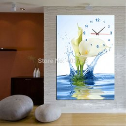 Wholesale Lily Paintings Art - Europe Style Water Lilies Decorative Pictures Canvas Prints Oil Painting Modern Wall Art Home Decor