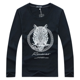 Wholesale Long Sleeve Owl Shirt - 2016 new autumn winter men's long sleeved T-shirt Men 100% Cotton Owl cartoon animal print long sleeved cotton Bottoming shirt
