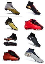 Wholesale Elastic Shoes - New 2016 Ronaldo CR7 Soccer Shoes 2015 New Soccer Boots Mercurial Superfly FG Mens Shoes Soccer Cleats Size 39-45