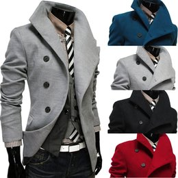 Wholesale Wool Trench Coats For Men - Double Breasted Personalize Mens Trench Lapel Neck British Style Men Trench Coats Winter Slim Wool Coat Solid Trench For Men J160820