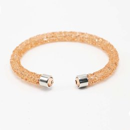 Wholesale Crystal Pave Tubes - Wholesale- Bohemia Single And Double Crystal Cuff Bracelet Men and Women Bangle of Rhinestone Paved Tube Crystal Jewelry Pulseras Mujer
