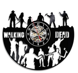Wholesale Lps Decoration - Free shipping 12inches The Walking Dead Art Vinyl LP Record Wall Clock Room Home Decoration Modern Vintage Decoration Clocks