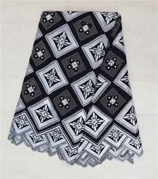 Wholesale African Swiss Voile Lace White - High quality white and black lattice pattern swiss voile lace high cotton fabric(5yards pc),African lace fabric for clothing BC118-1