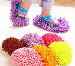 Scarpe più pulite online-New Cleaning House Pantofole House Bathroom Floor Cleaning Mop Cleaner Slipper Pigro Copriscarpe Microfibra 2 Paia / lotto